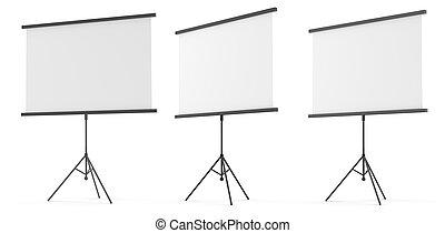 Set of blank presentation screens