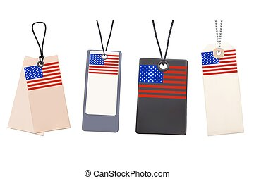 Set of Blank price tags with flag of USA. Photo realistic illustration. Isolated on white.