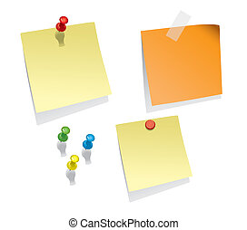 Note Papers - Set Of Blank Realistic Note Papers With Space...