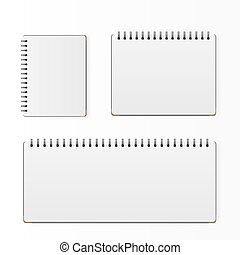 Set of blank realistic spiral notepad notebook isolated on white vector.