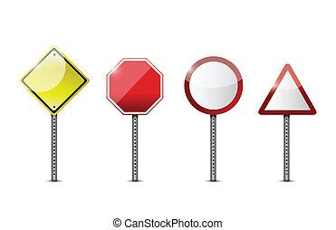 set of blank road sign. illustration design
