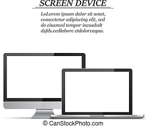 Set of blank screens. Computer monitor, laptop