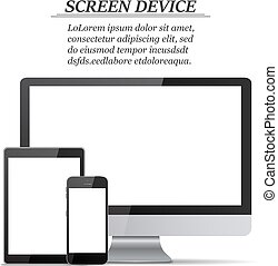 Set of blank screens. Computer monitor, tablet, smartphone