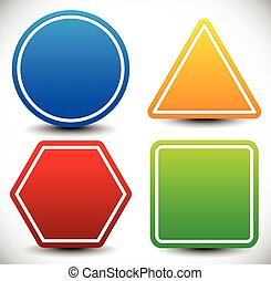 Set of blank shapes. Circle, triangle, octagon and square.