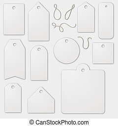 Set of blank white label cardboards