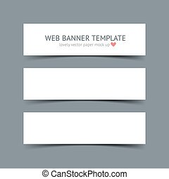 Set of blank white paper banners