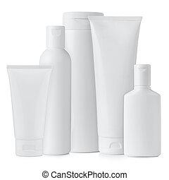 Set of blank white plastic bottles