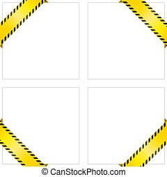 Set of blank yellow caution tapes. Corner labels