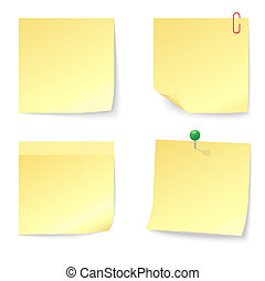 Set of Blank Yellow Sticky Notes with Push Pin and Paperclip isolated on white background