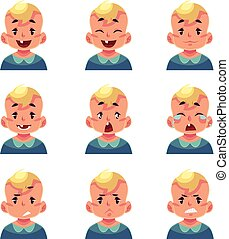 Set of blond baby boy avatars with different emotions