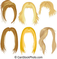 blond hair styling - Set of blond hair styling