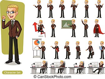 Set of blonde businessman cartoon character design wearing...