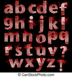 Set of bloody Fingerprint letters a