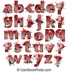 Set of bloody Fingerprint letters