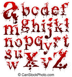 Set of Bloody letters isolated