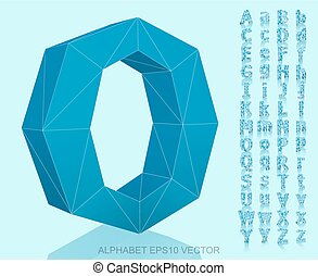 Set of Blue 3D polygonal Letters with reflection. EPS 10 vector.