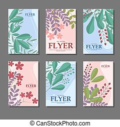 Set of blue and pink vertical cards with flowers, leaves, berries for your design. Vector