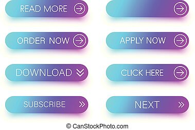 Set of blue and purple icons isolated on white.