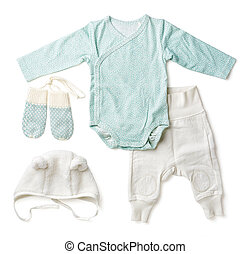 Set of blue baby clothes, from above