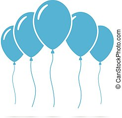 Set of blue balloons