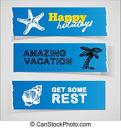Set of blue banners vacation sketch illustrations