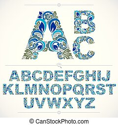 Set of blue beautiful capital letters decorated with herbal ornament. Vector typescript made in floral style.