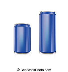 Set of blue blank aluminium cans.