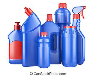 Set of blue bottles with detergents