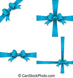 Set of blue bows isolated on white. EPS 10