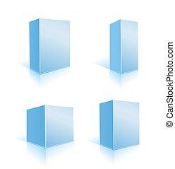 set of blue boxes on white. vector illustration