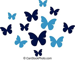 Set of blue Butterflies