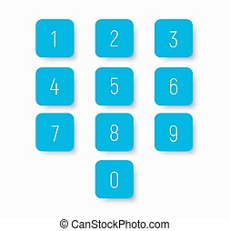 Set of blue buttons with numbers from 0 to 9.