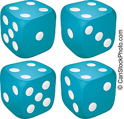 Set of blue casino craps, dices with four points, dots...