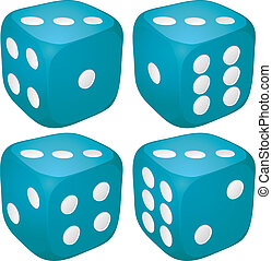Set of blue casino craps, dices with three points, dots...