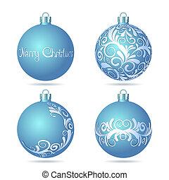 Set of Blue Christmas balls on white background.