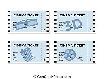 Set of blue cinema tickets with the image of 3D-glasses , popcorn and movies