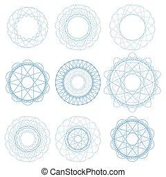 Set of Blue Circle Ornaments