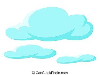 Set of blue clouds on white background.