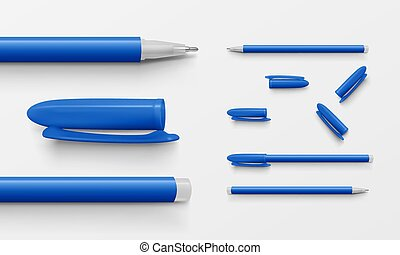 Set of blue colored office pens and caps
