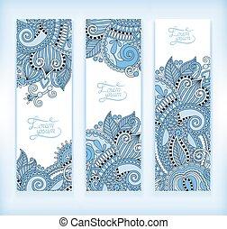 set of blue colour decorative flower template banner