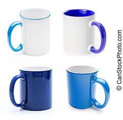 Set of blue cups