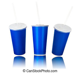 Set of blue cups with cap and tube isolated on white background
