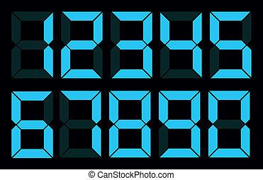 Set of blue digital number on black