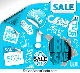 blue discount tickets, labels, stamps