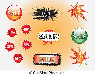 Set of blue discount tickets, sale labels