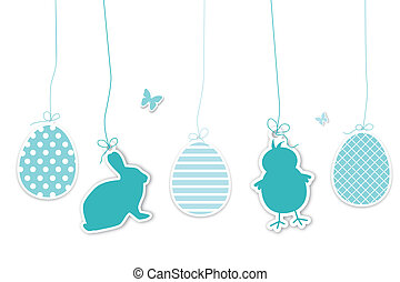 Set of blue easter hangtags