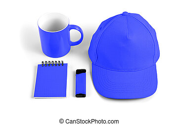Set of blue elements for corporate identity design on white background.