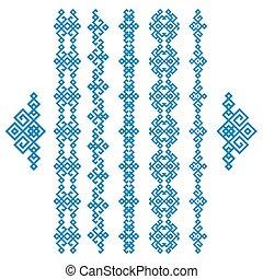 Set of blue ethnic geometrical borders isolated on white
