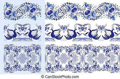 Set of blue ethnic patterns in the style of national porcelain painting. Ornaments with flowers and birds isolated on white