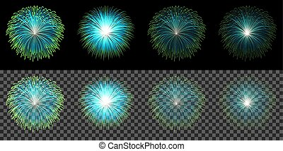 Set of blue fireworks isolated on transparent dark background